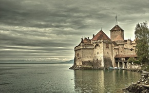 Обои замок, старинный, на озере