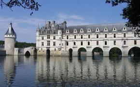 Картинка вода, река, Франция, Замок, Сhenonceau