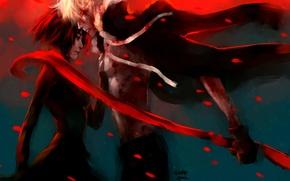 Картинка девушка, лепестки, шарф, парень, art, fuyumine naoto, nanfe, haine rammsteiner, dogs: bullets & carnage