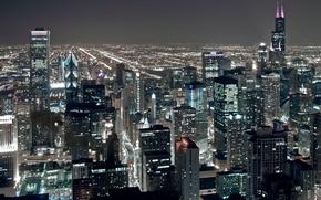 Картинка ночь, city, огни, высота, небоскребы, USA, америка, чикаго, Chicago, сша