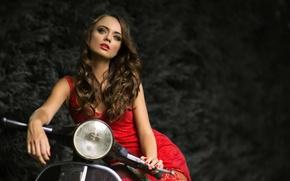 Картинка девушка, мотоцикл, в красном, Elisabeth