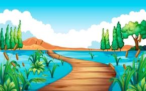 Картинка мост, река, камыш