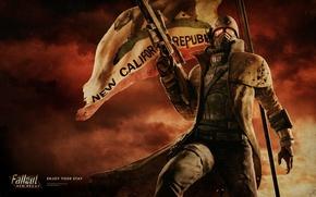 Fallout, New Vegas,  NCR, флаг, солдат, винтовка, броня обои