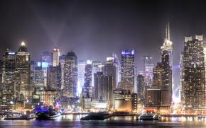 Картинка ночь, город, огни, небоскребы, мегаполис, New Jersey, Union City