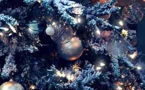 Обои снег, праздник, игрушки, елка, гирлянда