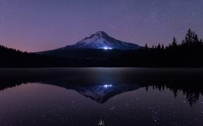 Картинка море, лес, вода, звезды, свет, снег, деревья, ночь, озеро, темнота, отражение, сияние, гора, ели, USA, ...