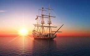Картинка море, корабль, фото, рассвет, 3D графика, парусник, закат