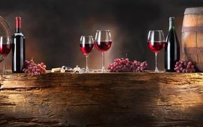 Обои вино, красное, бокалы, виноград, бутылки, гроздья, бочонки