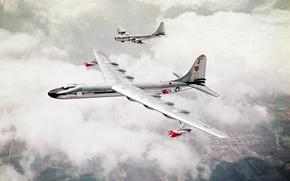 Обои поля, земля, b-29, два, usaf, бомбардировщики, самолёта, небо, облака