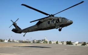 Картинка дома, вертолёт, посадка, UH-60, Black Hawk