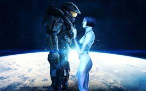 Обои John-117, космос, Cortana, Halo, Master Chief