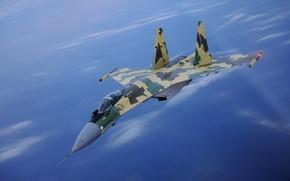 Обои синее небо, истребитель, высота, СУ-35