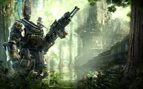 Обои Вода, Робот, Здания, Солдат, Джунгли, Охотник, Electronic Arts, Пилот, DLC, Титан, Экипировка, Оружия, Titanfall, Respawn ...
