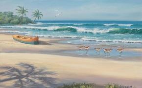 Картинка море, пляж, лодка, картина, живопись, painting, Sung Kim