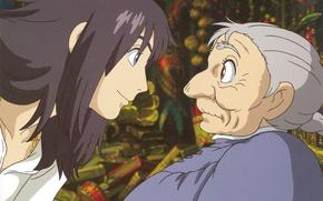 Картинка удивление, профиль, двое, старушка, волшебник, смущение, ходячий замок хаула, sophie hatter, hayao miyazaki, howl`s moving …