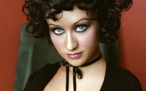 Картинка пирсинг, брюнетка, певица, Christina Aguilera, знаменитость, Кристина Агилера