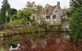 Картинка Англия, Осень, Озеро, Autumn, England, Lake, Scotney Castle, Замок Скотни