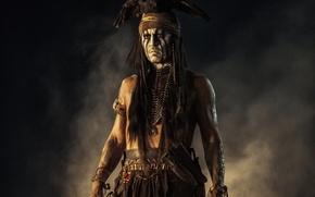 Картинка птица, орел, Johnny Depp, мужик, актер, Джонни Депп, индеец, The Lone Ranger, Одинокий рейнджер, Tonto