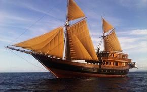 Картинка волны, океан, отдых, корабль, яхта, паруса, путешествие