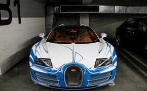 Обои bugatti, veyron, vitesse, l'or, bleu, vehicle, car