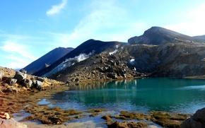 Картинка небо, горы, озеро, камни, Новая Зеландия, new zealand, emerald lakes
