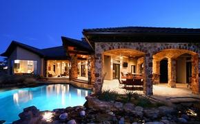 Картинка дом, стол, камень, стулья, бар, бассейн, телевизор, house, pool, interior, home, exterior, барная стойка.