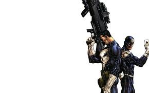 Картинка рисунок, карта, Marvel, Comics, Марвел, The Punisher, Bullseye, Меченый, Каратель, очень большая пушка