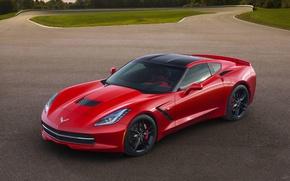 Обои chevrolet, corvette, c7, красный, спорткар, авто