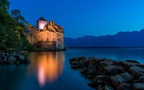 Картинка горы, озеро, камни, замок, Швейцария, Альпы, Switzerland, Alps, Женевское озеро, Шильонский замок, Монтрё, Lake Geneva, …