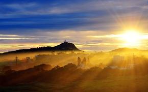 Картинка солнце, свет, город, вечер
