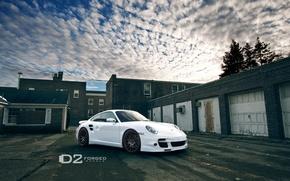 Картинка Porsche, White, D2 Wheels