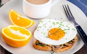 Обои Бутерброд, Вилка, Еда, Апельсин, Яичница, Завтрак