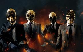 Картинка деньги, бандиты, доллары, грабители, Payday: The Heist