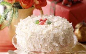 Обои нежность, торт, праздник, food, cake, dessert, десерт, сладкое, sweet, еда, Новый год