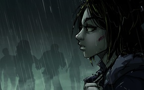 Картинка взгляд, кровь, куртка, зомби, girl, zombie, blood, Art, rain, постапокалипсис, Katrin, kitsune, Kate-FoX, postapokalipsis