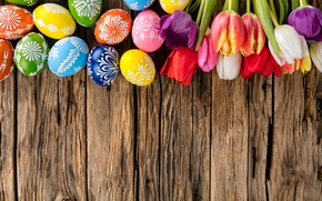 Картинка яйца, colorful, Пасха, тюльпаны, happy, wood, flowers, tulips, spring, Easter, eggs, holiday