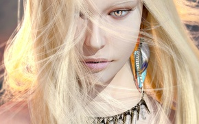 Обои взгляд, рендеринг, девушка, блондинка, украшения, серьги