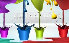 Картинка праздник, краска, цвет, горшок