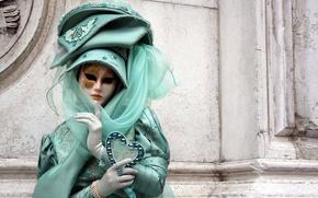Картинка девушка, город, тайна, маска, костюм, венеция, бал, маскарад