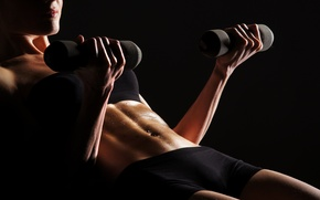Обои perspiration, fitness, dumbbells, pose, woman