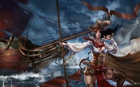 Картинка море, девушка, оружие, ветер, корабль, парусник, арт, пиратка