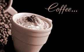 Картинка coffee beans, cup, cream, чашка, зёрна, кофе, Coffee, пена, бобы, кофейные, foam, крем