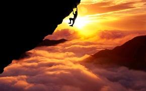Картинка Clouds, Sky, Sun, Sport, Silhouette, Above, Fatal, Climb
