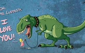 Обои love, любовь, слюни, динозавр, Девочка