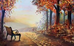 Картинка осень, листья, деревья, пейзаж, природа, арт, лавочка, живопись, время года