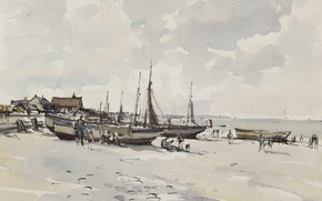 Обои Beach Scene. Kessingland. Suffolk, акварель, картина, пейзаж, Эдуард Сиго