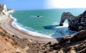 Обои пейзажи, песок трава, берег, побережье, арка, море, пляжи, англия, вода, скала, арки, волны, камень, скалы, ...