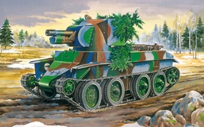Картинка войны, арт, танк, ВОВ, САУ, 1941, 1944, орудие, периода, легкого, WW2., танка, базе, БТ-7, советского, …
