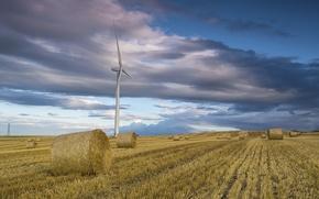 Обои поле, сено, стоги, ветряк, небо, облака