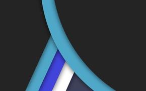 Обои синий, голубой, черный, геометрия, material, color, линии, белый, design